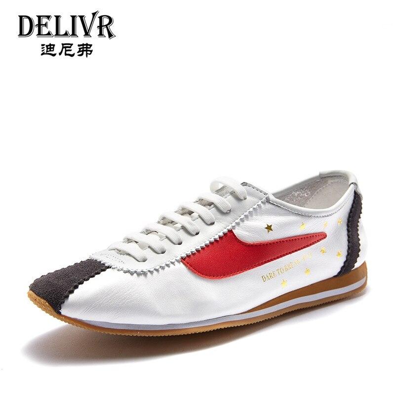 Delivr hommes baskets en cuir Patchwork mode sport Sneaker appartements hommes baskets hommes chaussures 2019 printemps nouveau en cuir véritable