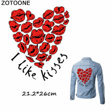 ZOTOONE Happy Valentines Day I Like Kisses Patches Iron on Transfers for Clothing Sexy Red Mouth Thermo Stickers DIY Applique E