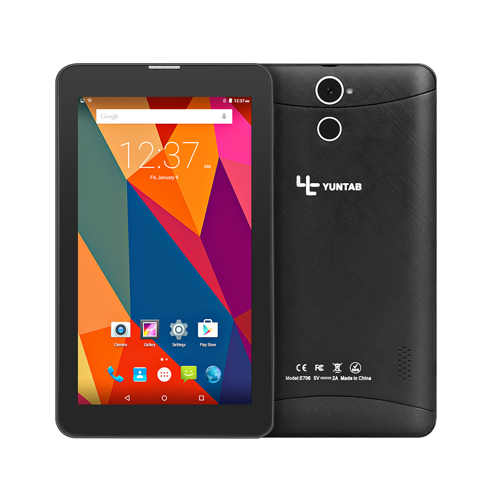 Hot 3G Phablet Yuntab E706 7 1GB+8GB IPS Android5.1 Quad Core Dual Cam Phone Call Tablets GPS Bluetooth 7 8 10 10.1 irulu x6 7 android 7 0 tablet 3g phablet phone call quad core 1 3ghz 1gb 16gb bluetooth wireless dual cams sim card support gms