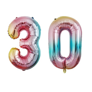 32inch 0-9 Gradient Color Digit Foil Balloons Happy Birthday Rainbow Number Ballons Figure 30 ans decoracao coroa kid toy