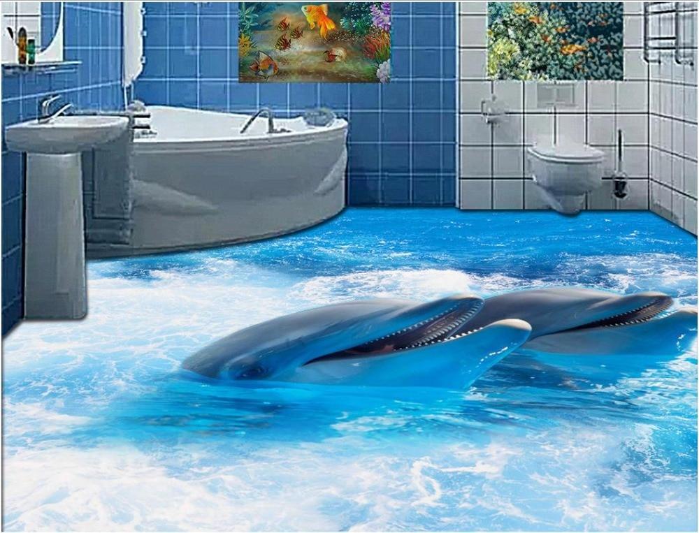 3d flooring wallpaper custom waterproof 3d pvc flooring 3D dolphins swimming flooring wall ...