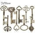KiWarm 9 шт. большие антикварные старые латунные ключи-скелетоны, шкафчик, замок, ожерелье, подвеска, декор «сделай сам», ювелирные изделия