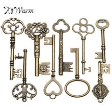 KiWarm 9PCS Large Antique Vintage old Brass Skeleton Keys Lot Cabinet Barrel Lock Necklace Pendant Decor DIY Jewerly Crafts(China)