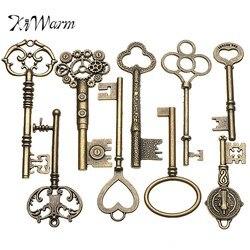 KiWarm 9PCS Large Antique Vintage old Brass Skeleton Keys Lot Cabinet Barrel Lock Necklace Pendant Decor DIY Jewerly Crafts