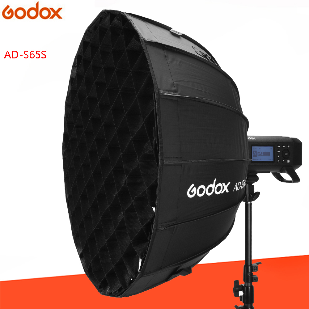 Godox 65cm AD-S65S Built-in Silver Deep Parabolic Softbox With Honeycomb Grid Godox Mount Softbox For AD400PRO Flash
