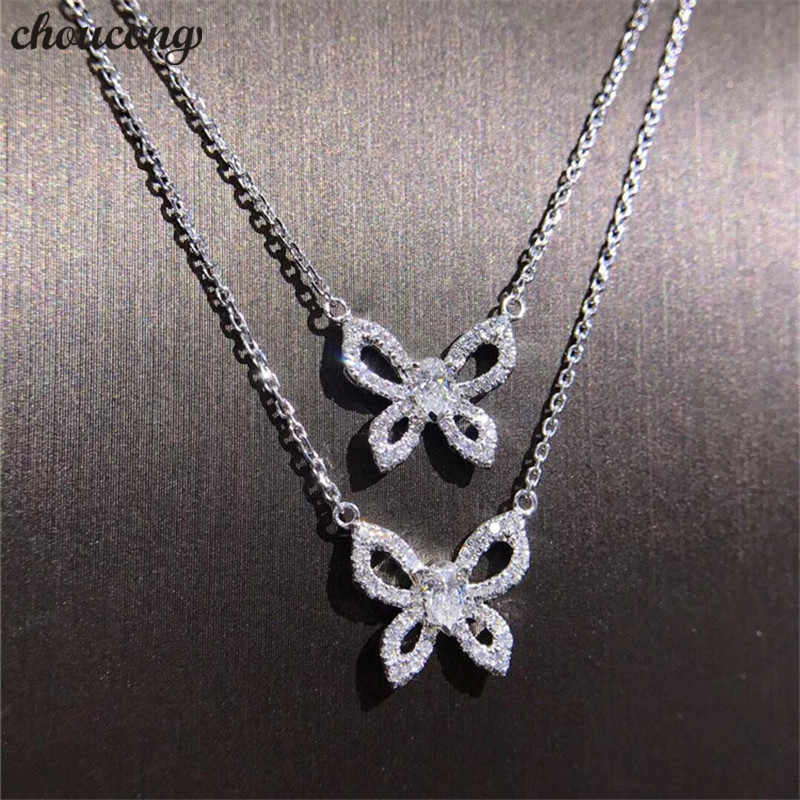 choucong Butterfly Shape Pendant AAAAA Cubic Zirconia 925 Sterling silver Party Wedding Pendant with Necklace for women jewelry
