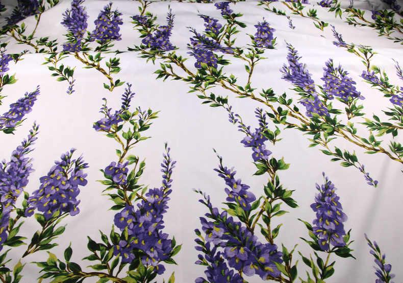 Ткань с цветочным принтом, 100% хлопковая ткань для женщин, детская одежда, фиолетовые цветы, хлопковая ткань для платья, шитье «сделай сам» материал