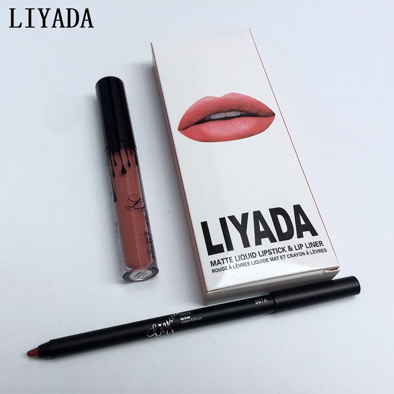 Лидер продаж 2017 года новый liyada Марка жидкая матовая помада комплект Lips Pencil Губы Макияж Lasting Водонепроницаемый Коврики ручка блеск для губ Косметика