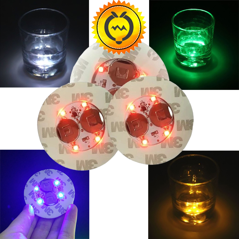 1pc Battery Power LED Bottle Stickers Coasters Fairy Night Lights LED Party Drink Cup Mat Christmas Vase Halloween Decoration