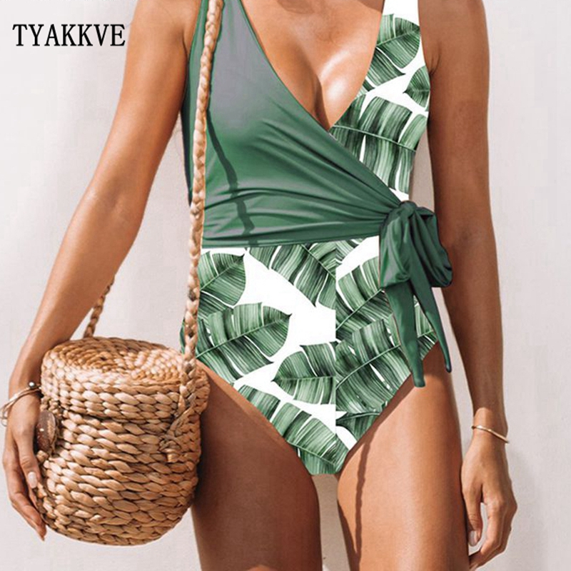 2019 Sexy One Piece Swimsuit Women Swimwear Push Up Print Bodysuit Deep V Neck Bandage Beachwear Bathing Suit Monokini Swimsuit