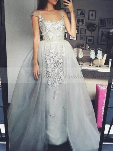 Arabic Scoop Cap Sleeves Long Overskirt Evening Dress with Detachable Skirt Appliques Lace Silver 2 In 1 Prom Dresses 2017 New