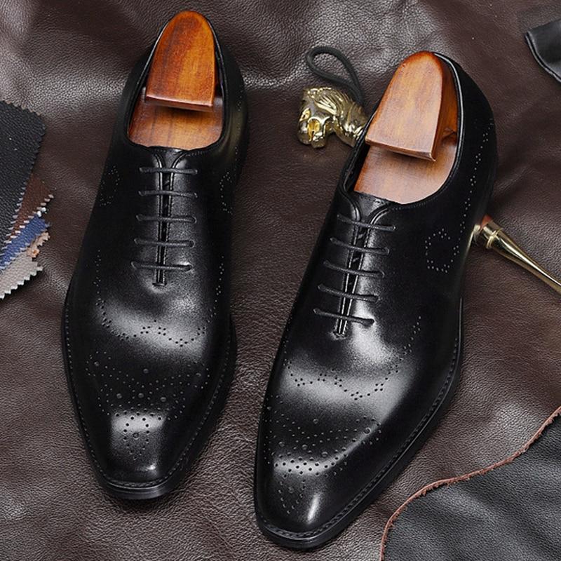 Mężczyzn skórzane buty biznes sukienka garnitur buty mężczyźni marka cielca prawdziwej skóry czarne zasznurować męskie buty ślubne Phenkang w Buty wizytowe od Buty na  Grupa 3