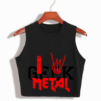 I LOVE METAL WOMENS CROP TOP SUMMER TUMBLR FASHION CROP TOPS 90S LADIES SLEEVELESS SUMMER TOPS