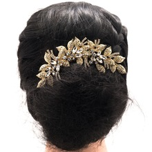 4.7″ New Fashion Gold Leaves Flower Wedding Hair Comb Clear Rhinestone Crystal Bride Hair Accessories Women Jewelry XBY688GCL