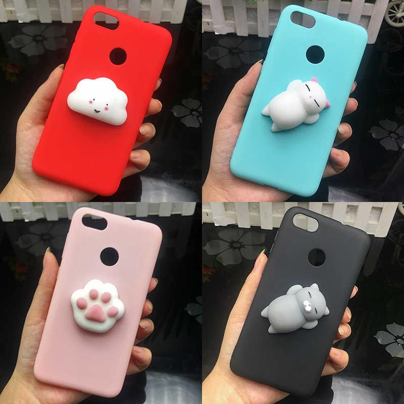 3d Squishy Katze Silicon Tpu Fall Für Huawei P20 P8 P9 lite P10 plus Nova3e Y9 2018 Candy Farbe zurück Abdeckung Mate 9 10 pro Fall