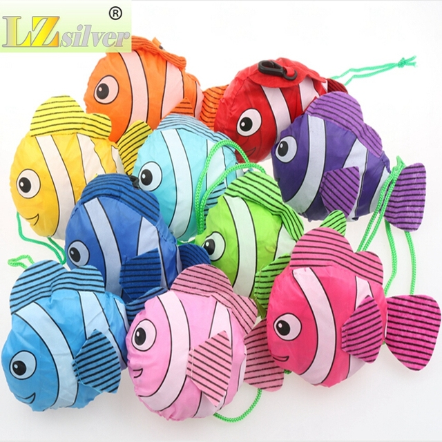300pcs/lot New 10 Colors Tropical Fish Foldable Eco Reusable Shopping Bags 38cm x58cm GB021