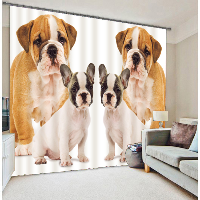New Cartoon 3D Blackout Curtains Lovely Yellow Puppy Pattern Washable Fabric Children Curtains for Living Room Home Textiles