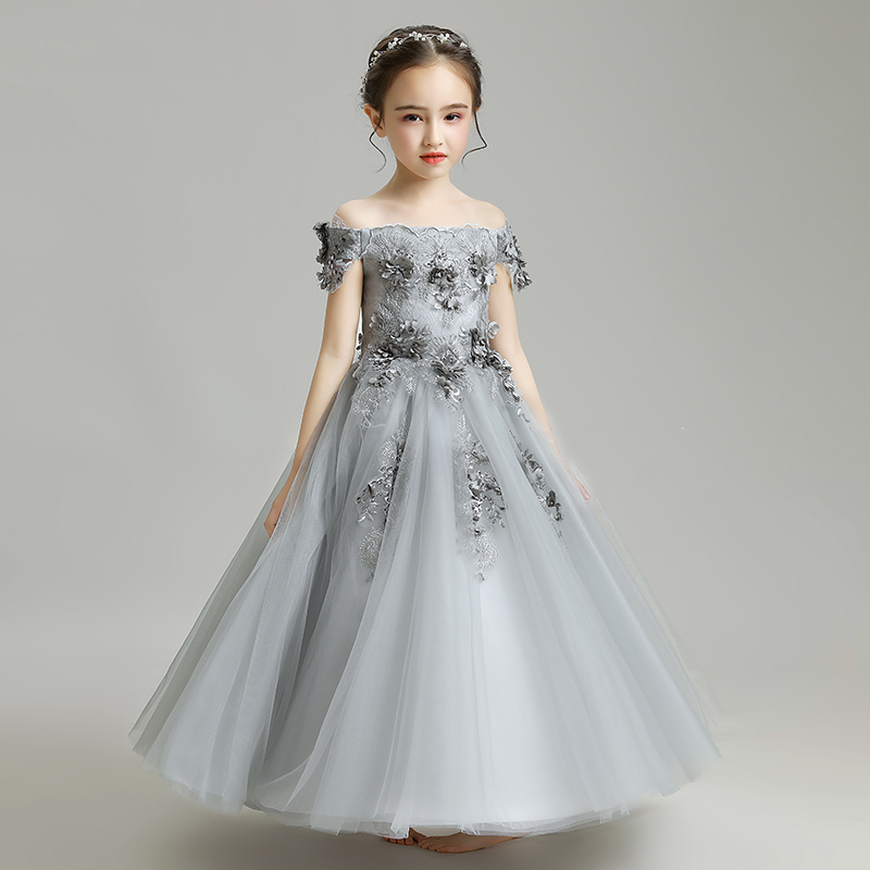 Boat Neck Kids Occasion Mesh Gown Lace Cute Applique Formal   Flower     Girls     Dress   Beads Princess Evening Gowns Vestidos De Festa