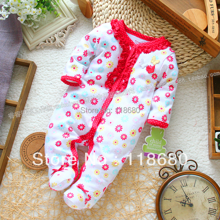 new 2016 spring autumn newborn baby clothing infant romper baby girl Long sleeve rompers kids flowers Footsies overalls