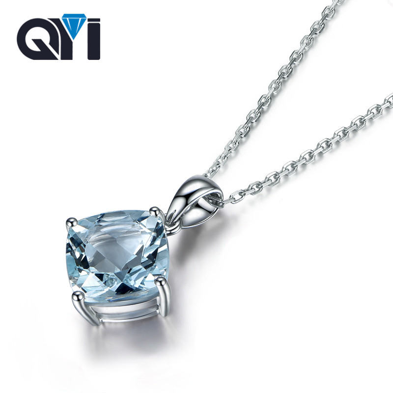 Natural sky Blue Topaz 925 Sterling Silver Solitaire Necklaces 2.5 ct Cushion cut Gemstone Necklaces Pendants For Women