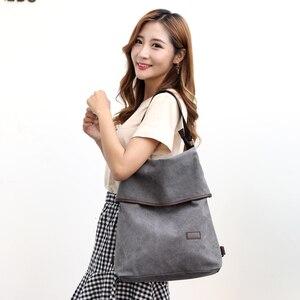 Image 5 - KVKY mochila de lona para mujer, estilo pijo morral escolar, de viaje, informal, 2020