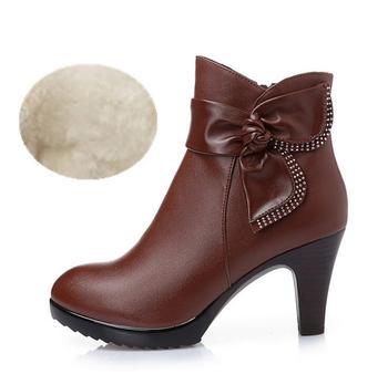 Γυναικεία δερμάτινα μποτάκια Γυναικείες Μπότες Παπούτσια MSOW