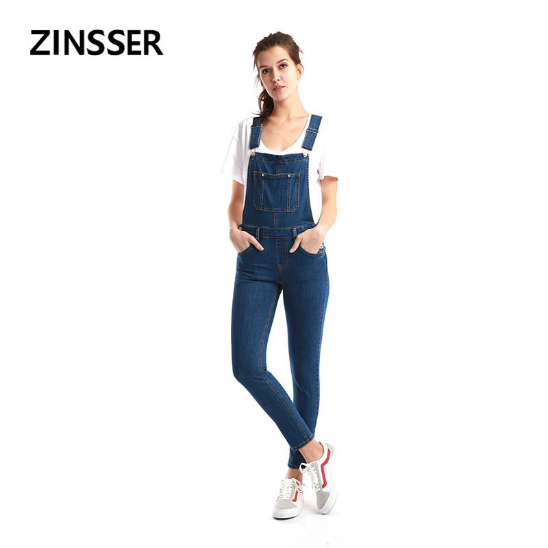 Autumn Winter Women Denim Dungaree Skinny Pants Stretch Washed Blue Slim Elastic Female Lady Jeans