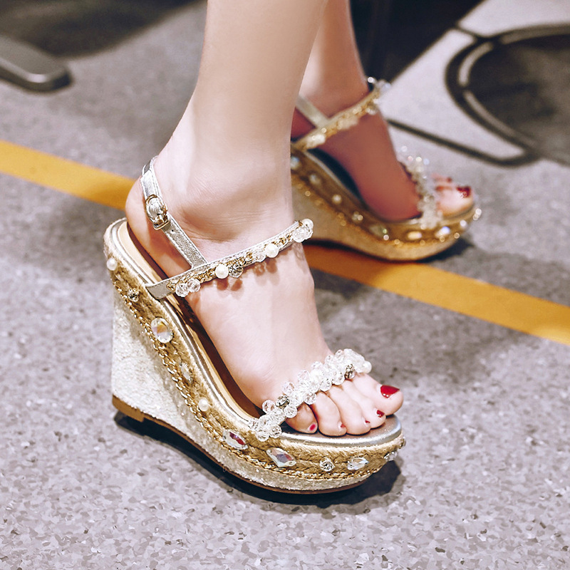 Summer Women Sandal Genuine Leather Rhinestone Wedges Sandals Gladiator Sandals Women's Shoes Platform Sandalias Femininas C159 phyanic 2017 gladiator sandals gold silver shoes woman summer platform wedges glitters creepers casual women shoes phy3323