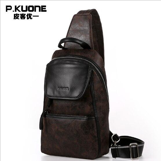 ФОТО P.KUONE 2017 Best Seller New Fashion Genuine Leather Chest Pack Men Messenger Bag Luxury Handbag Famous Brands Travel Handbag