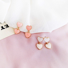 Fashion Pendant Earrings Sweet Cute Girl Heart-shaped For Women Jewelry Accessories Gift boucle doreille Pink/Beige