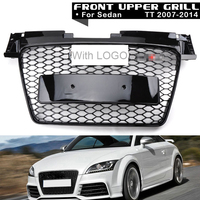 1Pc Car Racing Grille For Audi TT Grill Quattro 8J SFG MK2 2007 2014 Emblem ABS Radiator Chrome Front Modify Part Mesh Honeycomb