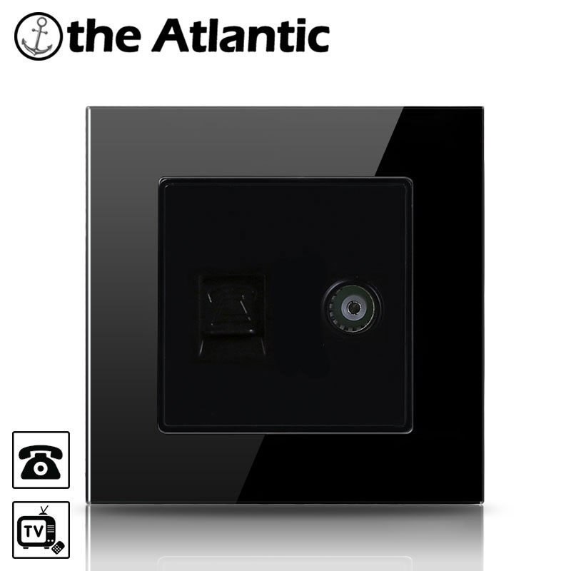 Atlantic Big sale Tempered Glass Telephone Socket and Television Socket Jack Outlet Wall Socket TV Television Socket Wall носки косметические spa belle парафиновые носки 5 применений