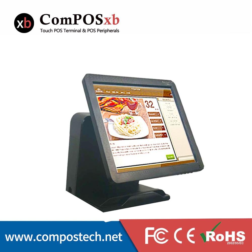 Pos Desktop maloobchodní 15 palcový dotykový displej Pos terminál s zákaznickým displejem Bílá / černá barva pro volby