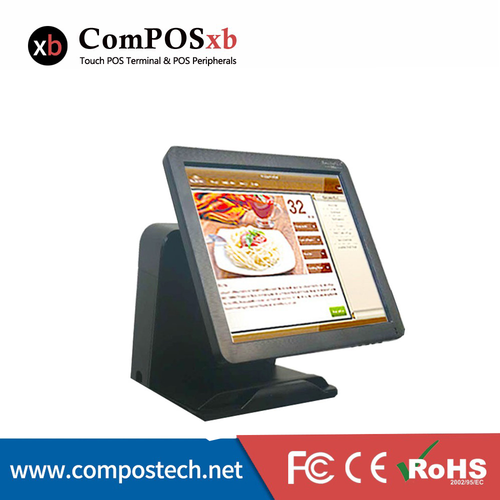 Pos Desktop Retail 15 Inch Touch Screen Pos Terminal With Customer Display White/Black Color For Options