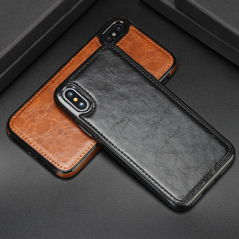 Luxury Leather Case for iphone 8 7 6 6S 5 SE Plus XR XS Max Etui Vintage Hose Magnetic Absorption Back Cover for iphone X Coque