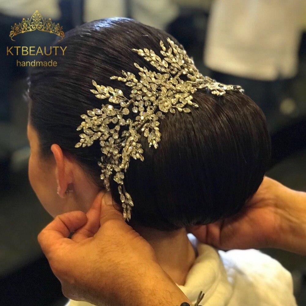 New Rhinestone Silver Gold Custom Made Big Tiara Handmade Hairband Royal Bridal Wedding Dressing Crown Accessory