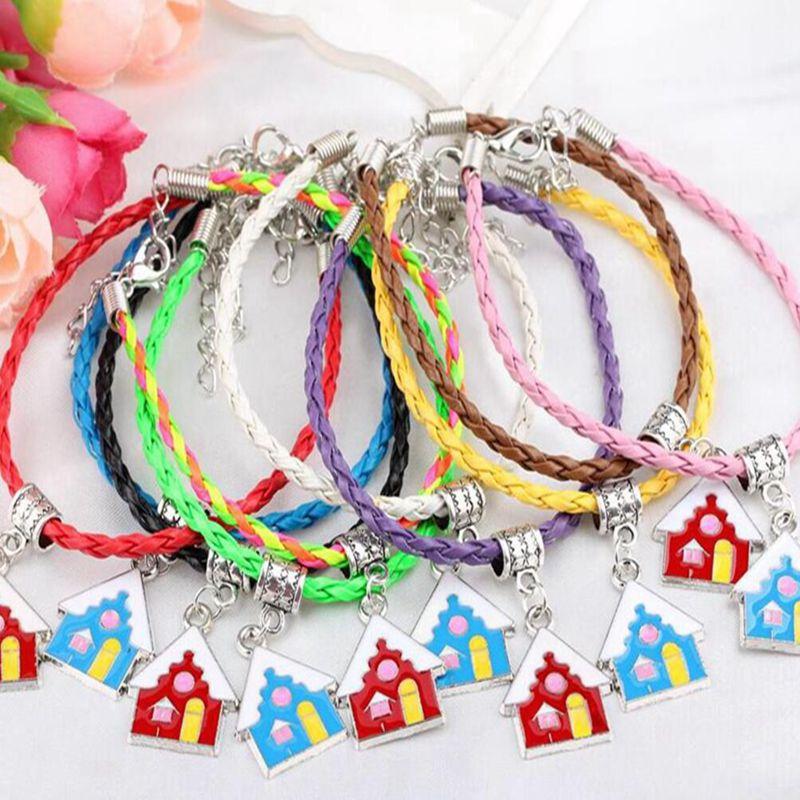 Handmade Braided Leather Bracelet Dangle Enamel House Home Castle Charms Cuff Bracelet Bangles Fit Women Fashion Jewelry Craft