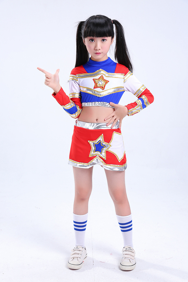 Boys Girls Dance Costume Cheerleader Costume Modern Dance Costumes Kids Long Sleeve Cheerleader Costume Boys Girs Trousers Pants