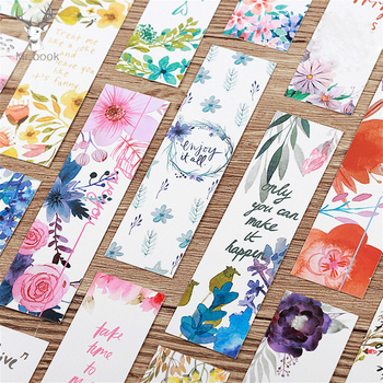 30Pcs/set Beautiful Flowers Bookmarks Message Cards Book Notes Paper Page Holder for Books School Office Supplies Stationery 30pcs set flowers bookmarks message cards book notes paper page holder for books school supplies accessories stationery