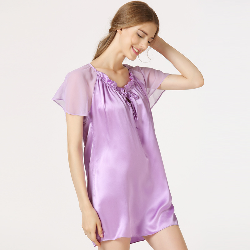 Summer Pregnant Women Sleepwear Robes Nightwear Shirt Sleep Night Dress  Nightgown Ladies 100% Silk Maternity Pajamas CE826-in Sleep   Lounge from  Mother ... 1b7cf33b5