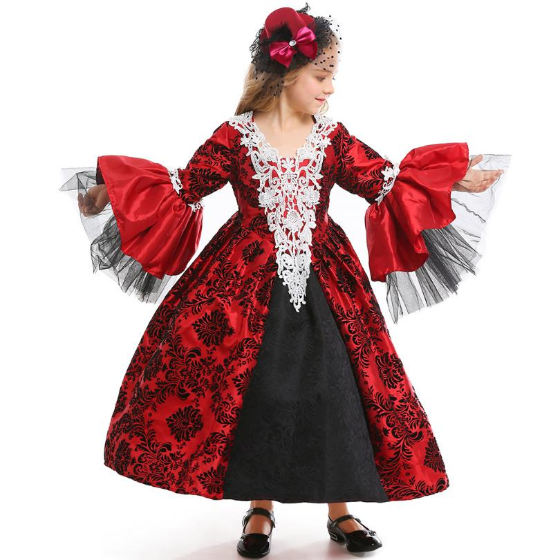 Halloween Vampire Costume Kids.Us 47 91 36 Off Xs L Wine Red Girls Halloween Vampire Costumes Kids Children Cosplay Dress Carnival Purim Masquerade Cosplay Party Dress Y711 In
