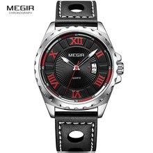 MEGIR Men's Simple Design Roman Numerals Analogue Quartz Watches for Men Leather Strap Wristwatch for Man Red Numbers 1019G-1 цена
