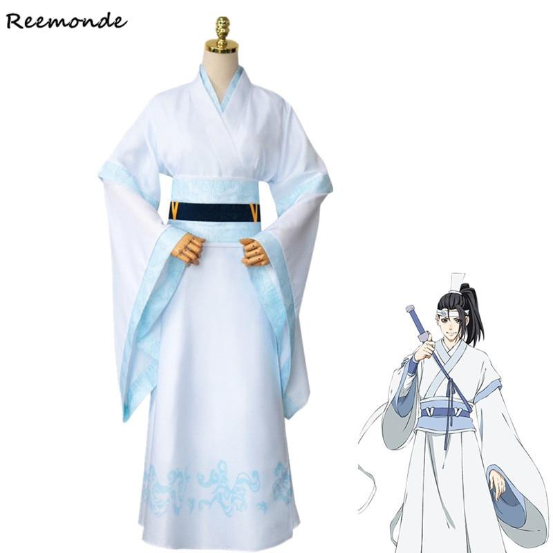 Anime Mo Dao Zu Lan Sizhui Lan Jingyi Cosplay Costume Grandmaster of Demonic Cultivation Men Hanfu Shoes Wig Hair For Boys