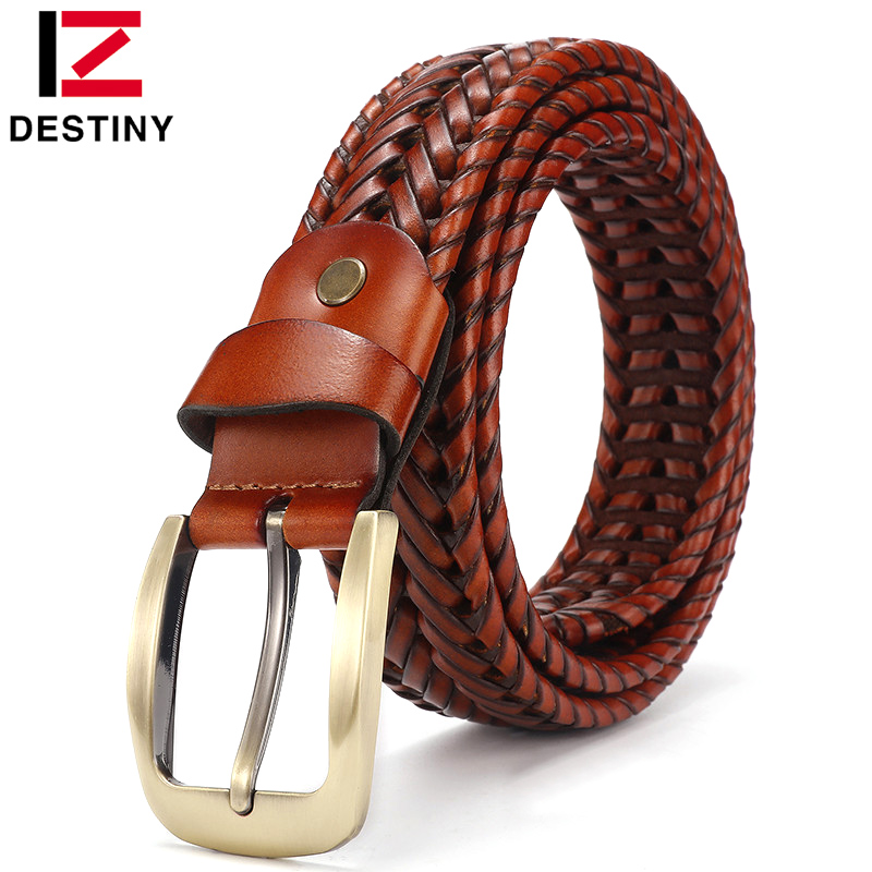 DESTINY High Quality Leather Belt Men Luxury Brand Famous Designer Belts Women Strap Male For Jeans Pin Buckle Vintage Weaving