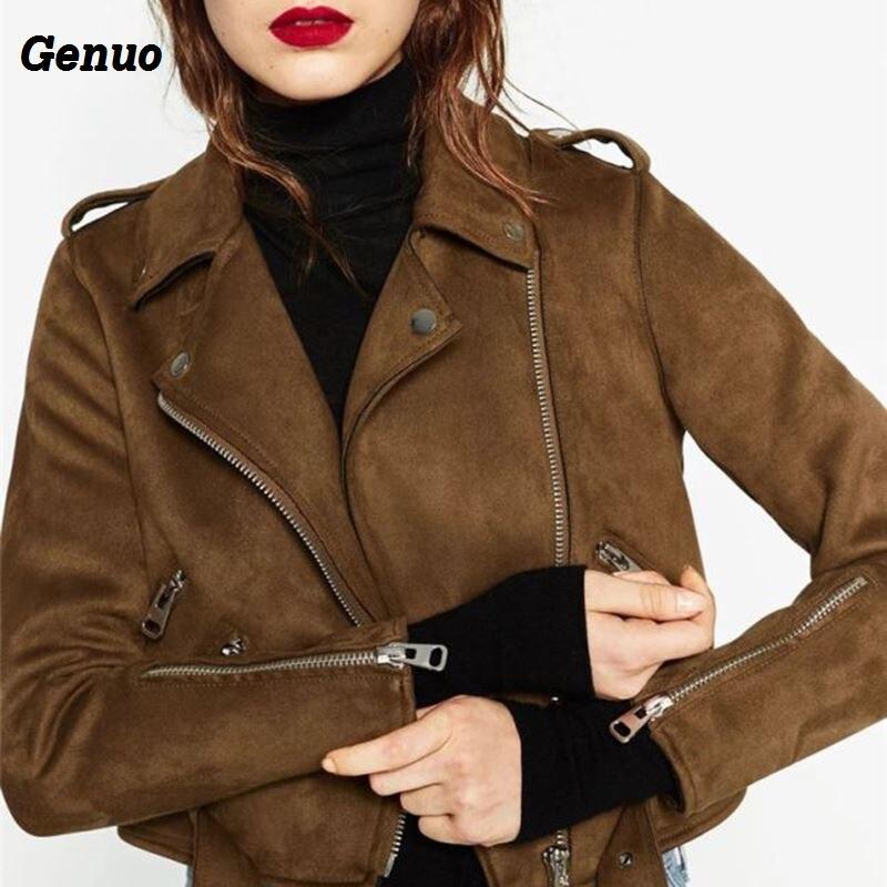 Genuo Faux Leather Jacket Autumn Women Faux Suede Motorcycle Jacket Women Biker Jacket Slim PU Leather Coat Streetwear Outfits