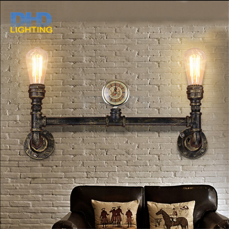 Free shipping fashion wroguht iron Water pipe wall lamp vintage aisle light loft iron wall lamp edison incandescent light bulb