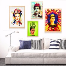 ФОТО Frida Kahlo Watercolor Portrait Canvas Art Print Painting Poster Wall Pictures  Kids Room Home Decorative Wall Decor No Frame