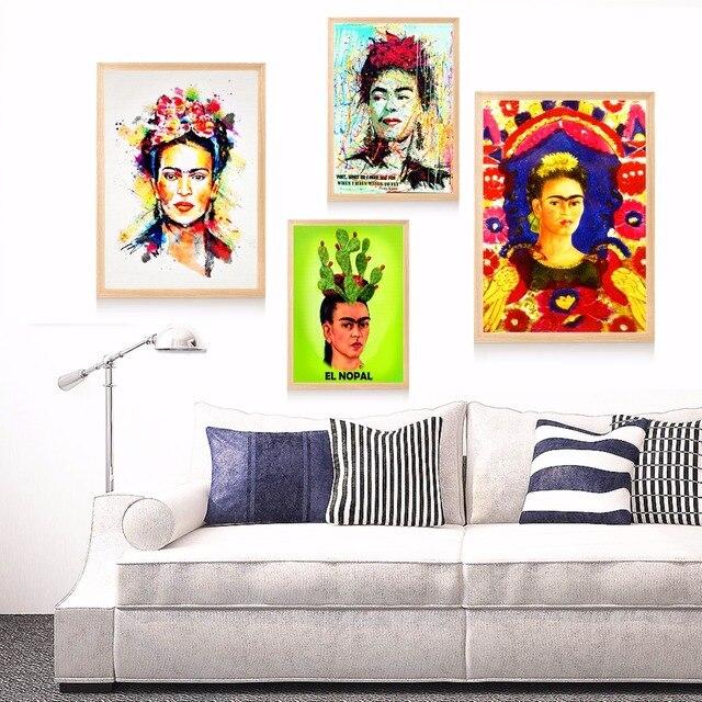Frida Kahlo Watercolor Portrait Canvas Art Print Painting Poster ...