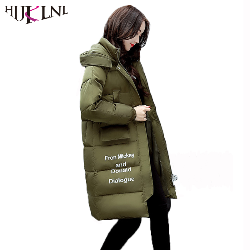 HIJKLNL Women Casual Letter Printed Hooded Long Jacket 2017 Winter Thick Coats Female Loose Overcoat Cotton Parka Mujer NA340 2017 new winter warm hooded long women s coats thick cotton jacket women embroidery letter vintage overcoat parkas abrigos mujer