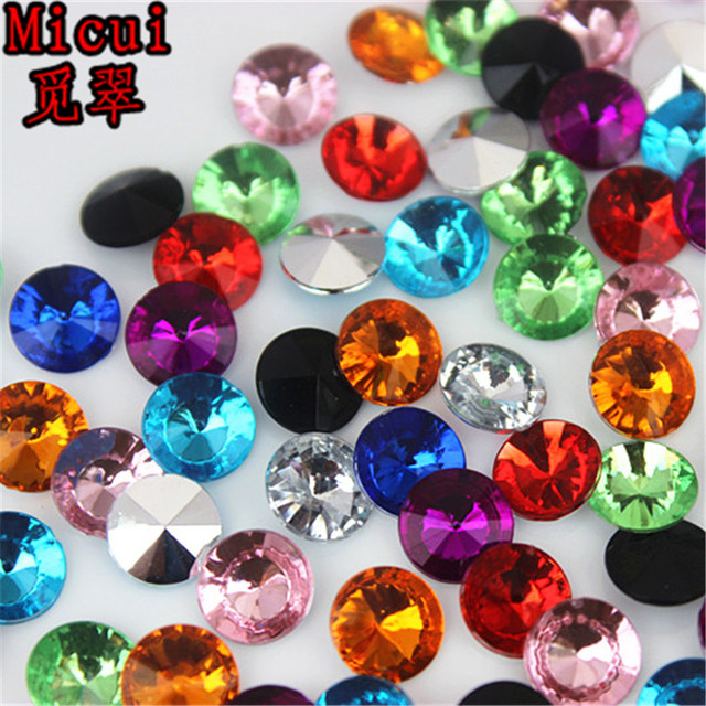 f15f32ef7f US $1.32 |Micui 100pcs 8mm Round Acrylic Rhinestone Pointback Crystal  Stones Wedding Dress Jewelry Crafts Decoration MC739-in Rhinestones from  Home & ...